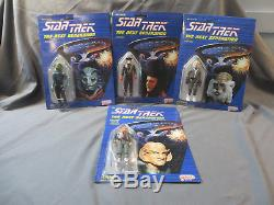 1988 Galoob Star Trek Tng 4 Alien Figure Set Antican Ferengi Q Selay Sealed