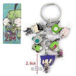 Green Alien Invader Zim Dog Suit Gir Robot Metal Keyring 5 Pendants Keychain