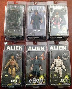 NECA ALIENS 6 Action Figure LOT Dog Alien, BISHOP, 2 Ripley, KANE & Dallas NEW