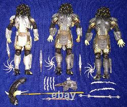 Neca x3 AvP Predator Figure Lot SCAR, YOUNGBLOOD + MASKED SCAR Alien vs Predator