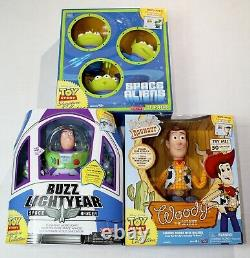 Toy Story Talking Sheriff Woody, Buzz Lightyear, Aliens Lot Signature Collection